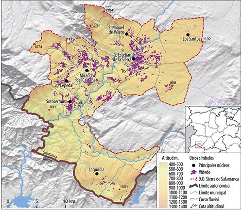 Distribución de los viñedos de la DOP Sierra de Salamanca
