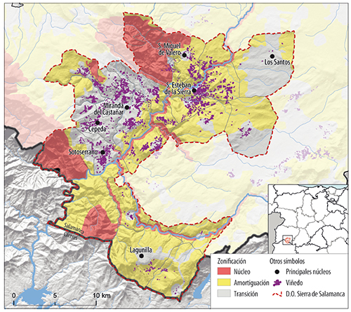 ViÑEdos y zonificaciÓN de la Reserva de la Biosfera Sierras de Gata y PeÑA de Francia