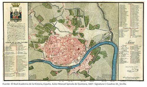 Plano geométrico de los alrrededores [sic] de la M. N. M. L. M. H. Ciudad de Sevilla