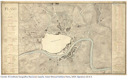 Plano del perímetro e inmediaciones de Sevilla