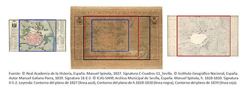Comparación dimensional de los planos de 1827, h. 1828-1830 y 1839