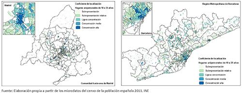 Cociente de localización de los hogares unipersonales de 18 a 35 años en la CM y la RMB, 2011