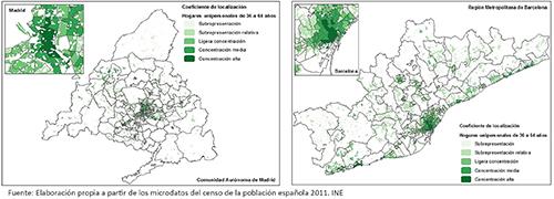 Cociente de localización de los hogares unipersonales de 36 a 64 años en la CM y RMB, 2011