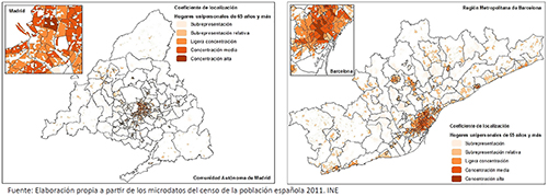 Cociente de localización de los hogares unipersonales mayores de 65 años en la CM y RMB, 2011