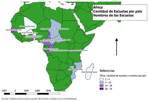 África. Cantidad de escuelas por país