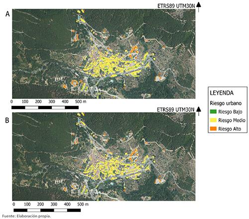 Riesgo en las estructuras urbanas porpavesas de largo y corto recorrido (Figura a) y por la incidencia de llamas cercanas (radiacción-convección) (Figura B)
