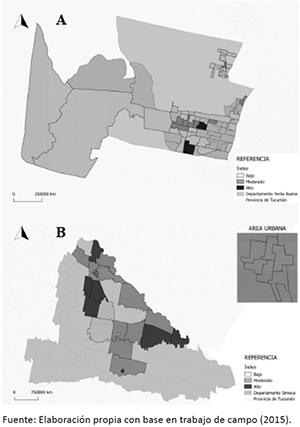 Distribucion espacial de la baja calidad de vida relacionada a la salud en Yerba Buena (a) y Simoca (b) (Tucuman, Argentina)