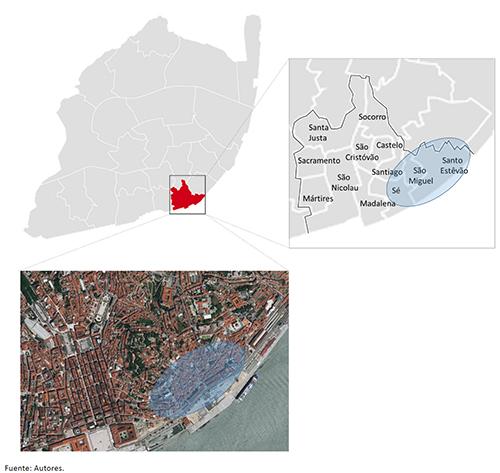 Localización del caso de estudio: barrio de Alfama en Lisboa (en azul)