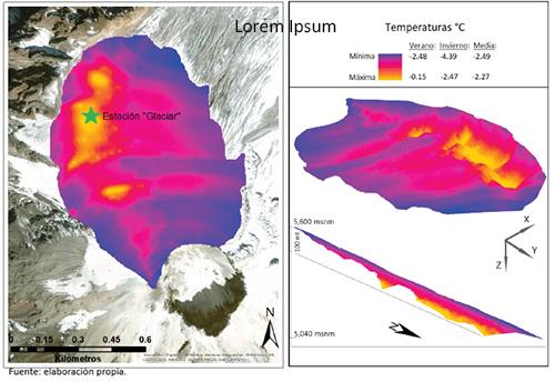 Mapa de distribución de temperaturas en la base del glaciar