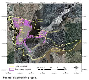 Límite municipal de la ciudad de Santa Fe de la Vera Cruz y demarcación del área urbana poblada, AUP