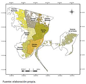 Delimitación de los distritos administrativos subdivididos en radios censales en la ciudad de Santa Fe dentro del AUP
