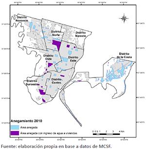 Área urbana poblada de Santa Fe con las zonas afectadas por anegamiento en 2010