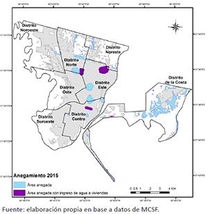 Área urbana poblada de Santa Fe con las zonas afectadas por anegamiento en 2015