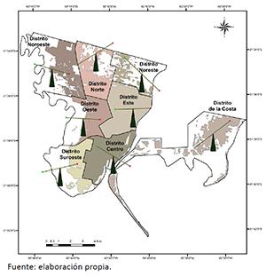 Mapa con las balanzas de equidad ambiental para la población total afectada en cada distrito durante los anegamientos de 2010 en Santa Fe
