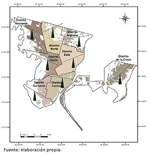 Mapa con las balanzas de equidad ambiental para la población total afectada estimada en cada distrito durante los anegamientos de 2015 en Santa Fe